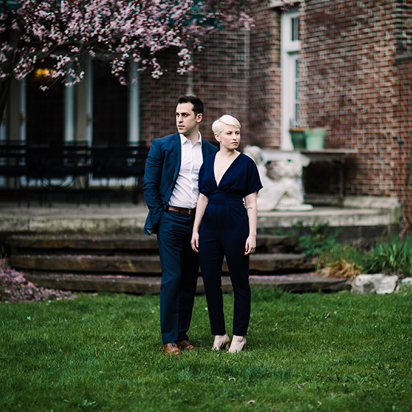 stylish couple at the tiger house in hudson new york for their engagement photos