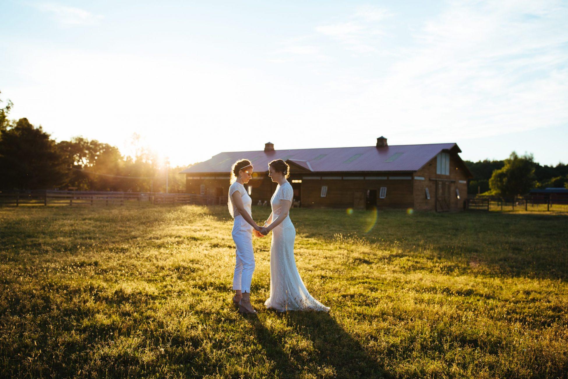 gay vegan wedding at the woodstock farm sanctuary in high falls, new york